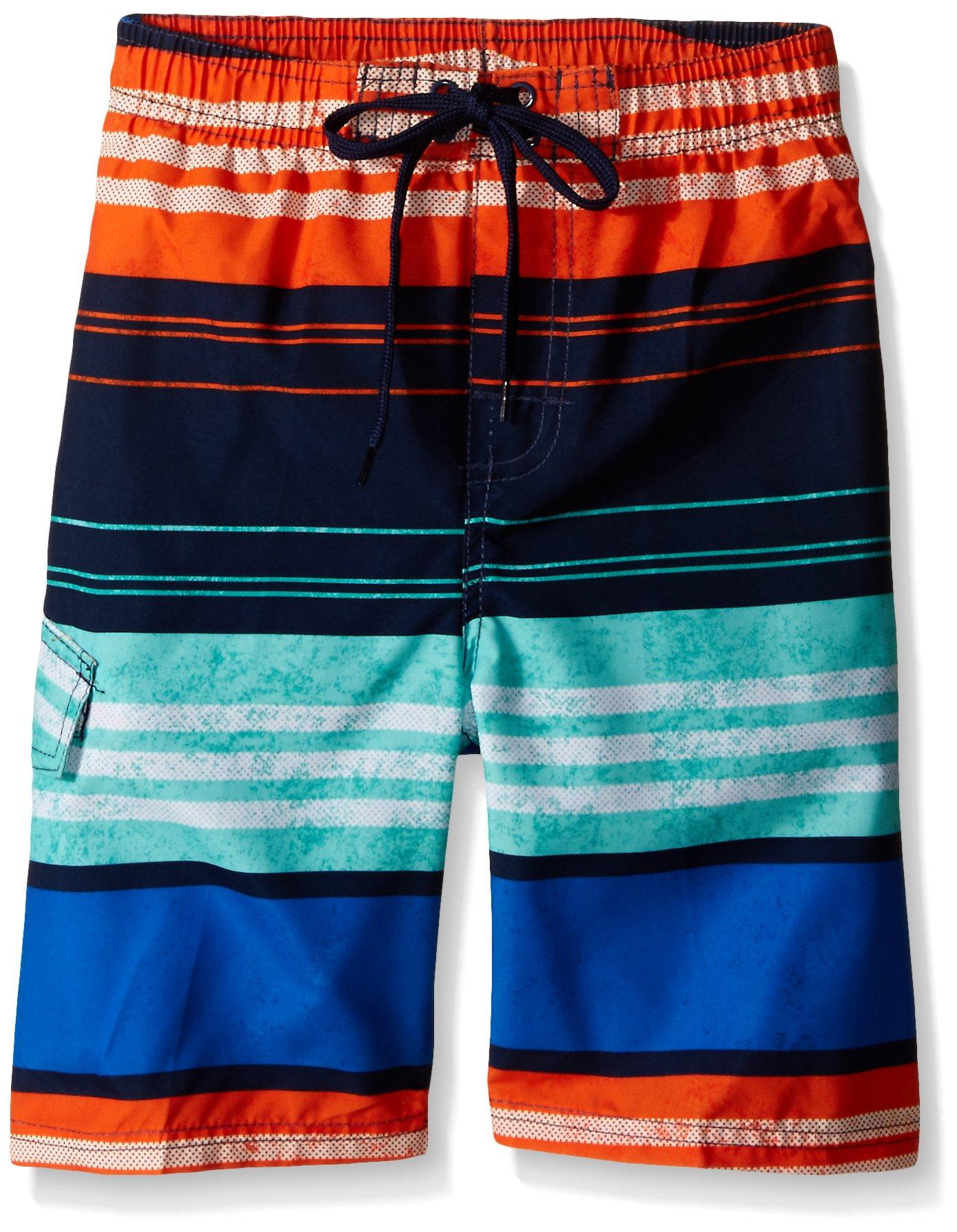 Kanu Surf Little Boys' Halo Stripe Swim Trunk, Navy/Orange, Medium (5/6)