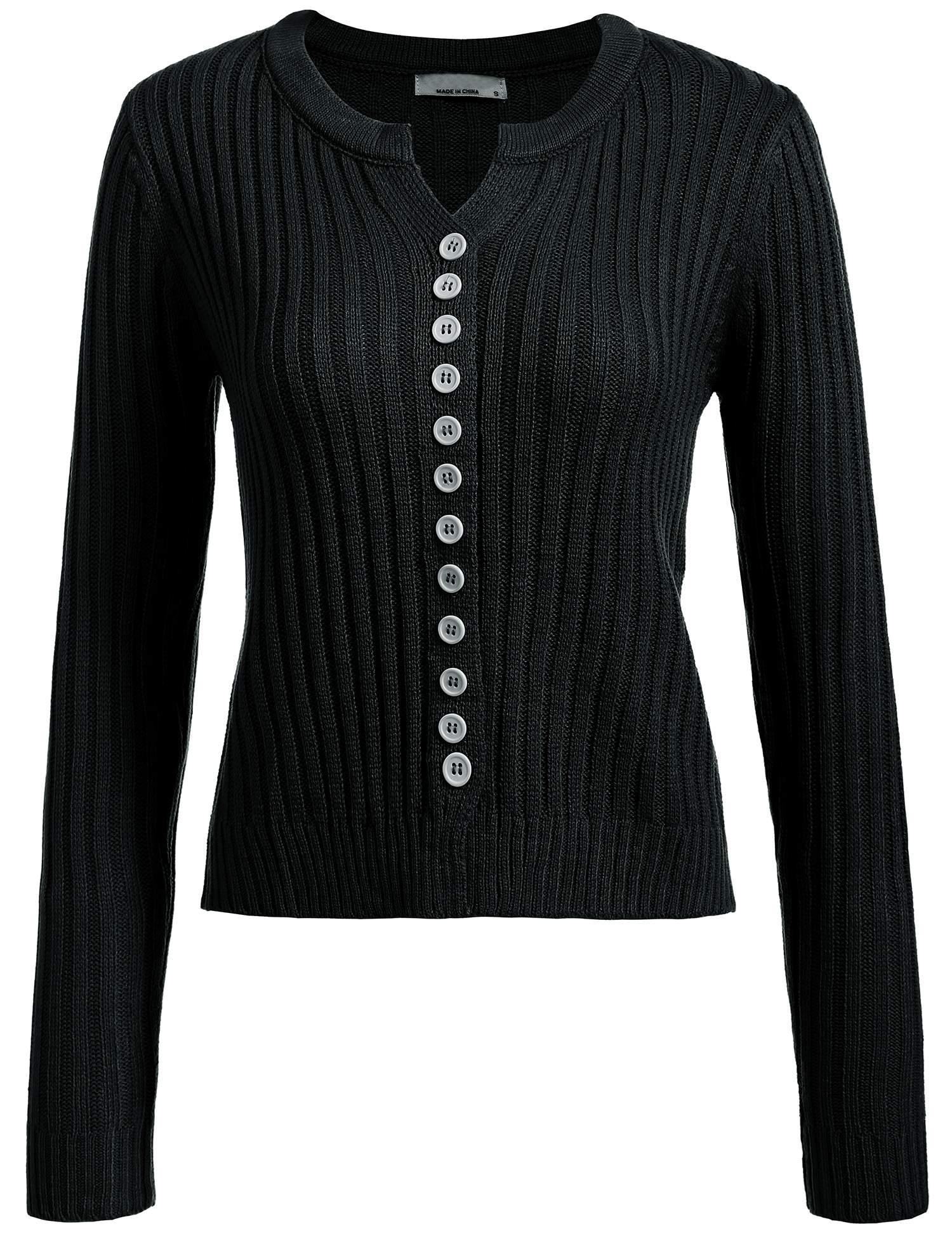 UNibelle Women Button Down Long Sleeve Round Neck Fine Knit Solid Slim Cardigan Sweater