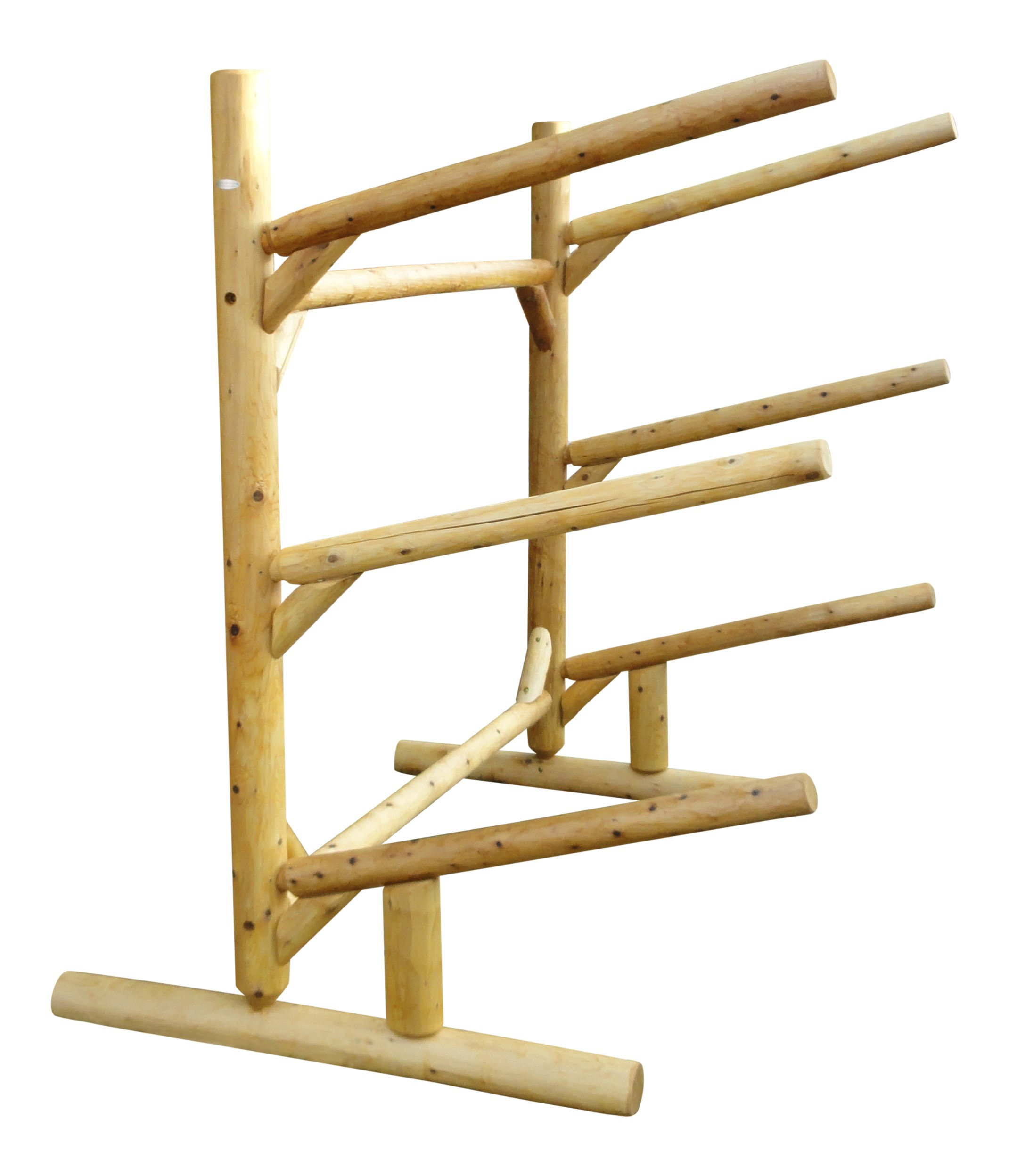 3 Place One Sided Kayak and Canoe Rack Natural Finish by Log Kayak Rack