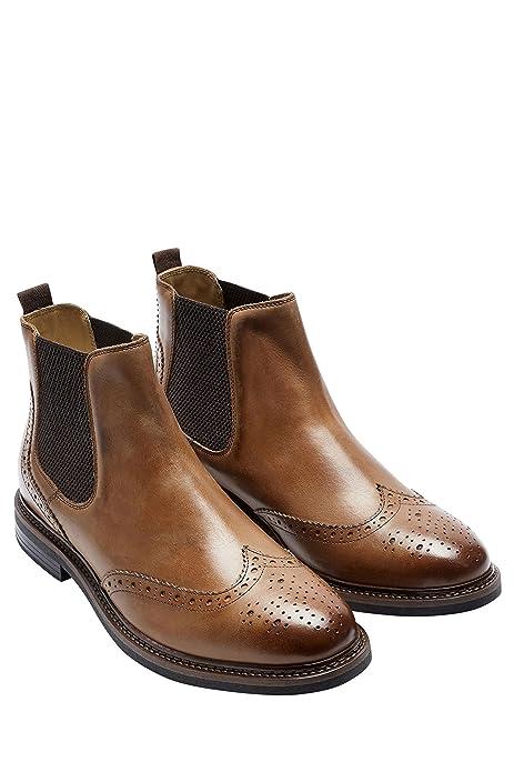 next Hombre Sin Cierre Botas Botines De Tobillo Chelsea De Piel Estilo Oxford Brogues: Amazon.es: Zapatos y complementos