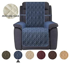 Ameritex Waterproof Recliner Cover Stay in Place, Dog Couch Chair Cover Furniture Protector for Pets and Kids (Pattern1:Navy, Recliner)