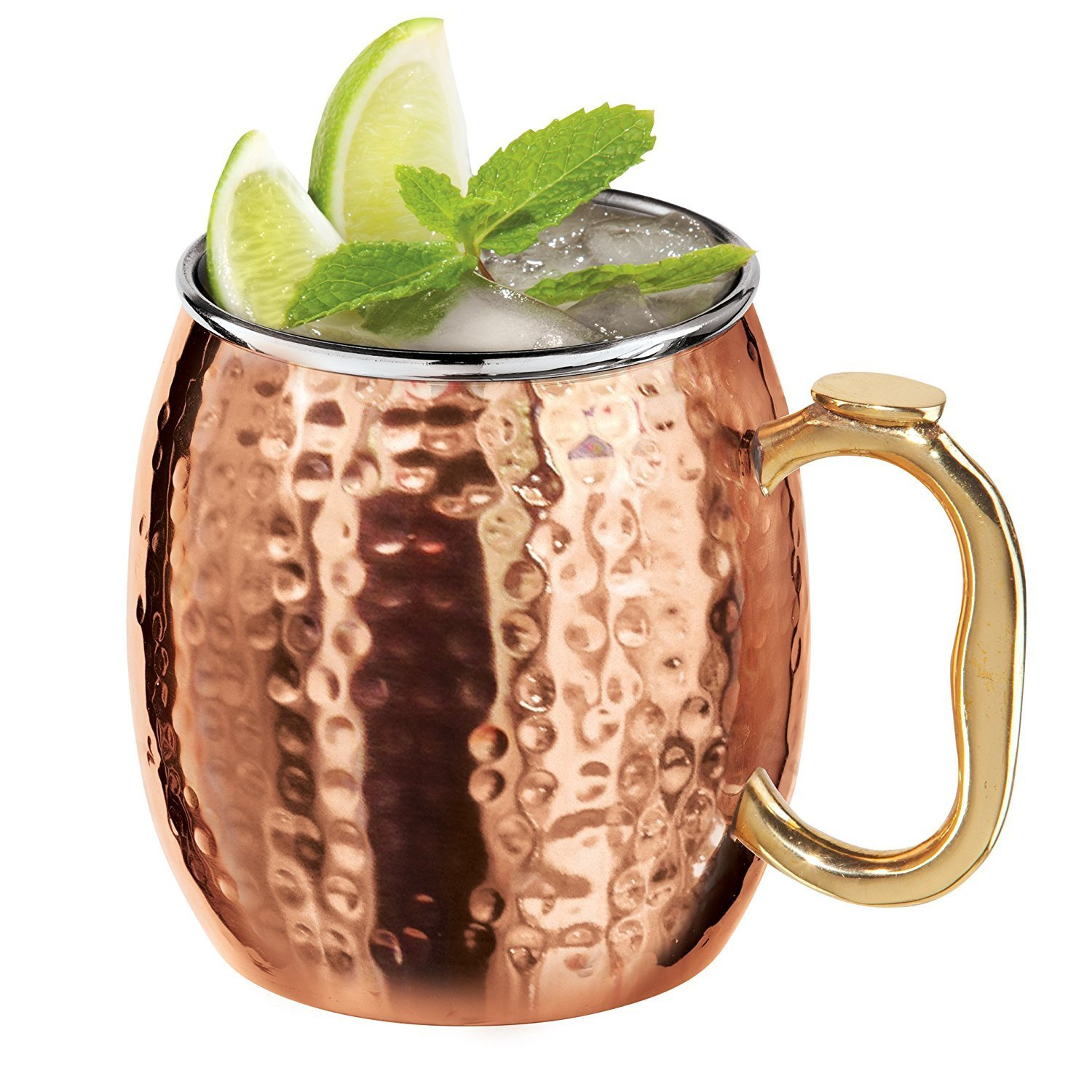 DreamKraft Hamme Copper Moscow Mule Mug Handmade Of Copper With Brass Handle 550 ML Gold by DreamKraft (Image #4)