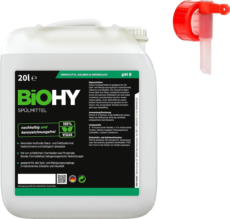 BIOHY Spülmittel (Bote de 10 litros) + Grifo de Salida | Libre de ...