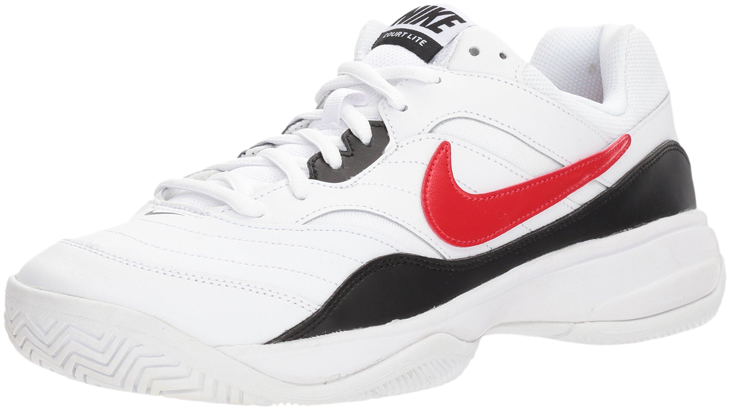 Nike Men's Court Lite Tennis Shoe, White/University red/Black, 7.5 D US