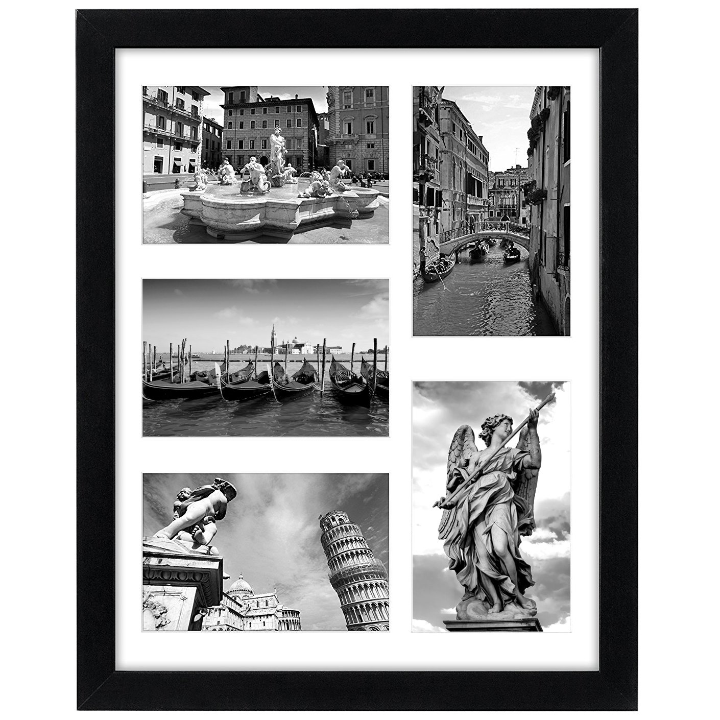 Americanflat 11×14 Collage Picture Frame in Black with Five 4×6 Picture Displays – Composite Wood with Shatter Resistant…