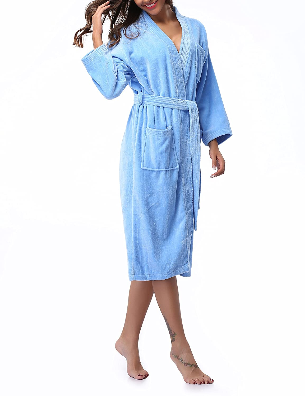 8901bcbcbb Kristin Fox Women s 100% Cotton Robe Turkish Kimono Bathrobe Soft Terry  Cloth Long at Amazon Women s Clothing store