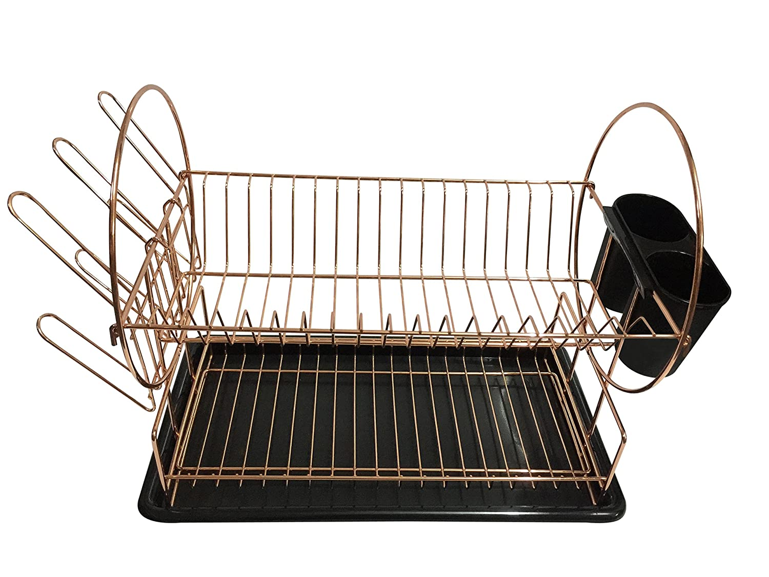2 Tier Dish Drainer / Dish Rack with Removable Drip Tray and Cutlery Holder (Black) Sasma Ltd