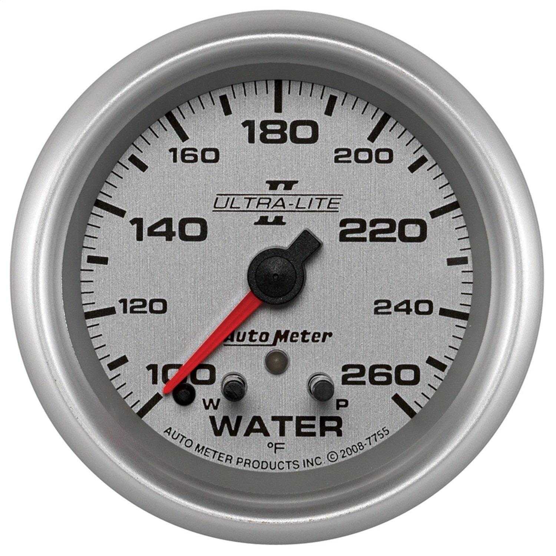 Auto Meter 7755 Ultra-Lite Pro II 2-5/8'' 100-260 Degree F Full Sweep Electric Water Temperature Gauge