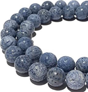 [ABCgems] Essential-Oil-Diffuser Indonesian Denim-Blue Sponge Coral (Raw- No Wax- Non Polished) 12mm Smooth Round Natural Organic Semi-Precious Gemstone Healing Energy Beads