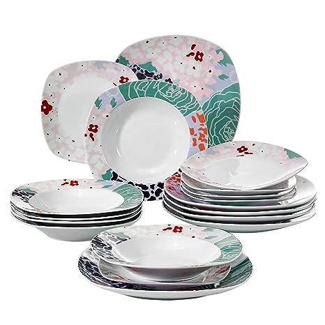 VEWEET Olina Juegos de Vajillas 18 Piezas de Porcelana con 6 Platos, 6 Platos Hondos y 6 Platos de Postre para 6 Personas