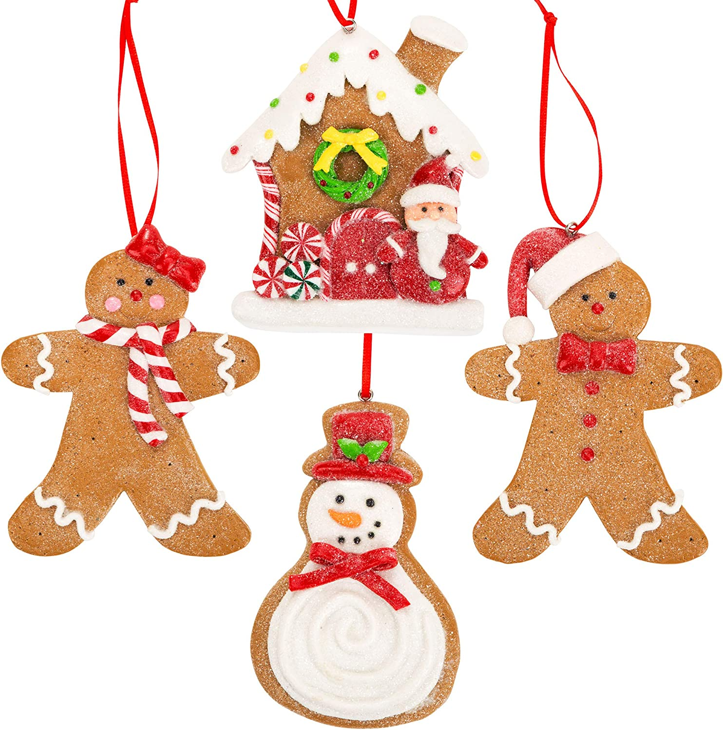 Gingerbread Christmas Ornaments - Man Boy Girl Gingerbread House Snowman Cookie Rustic Christmas Decorations Set of 4 - Claydough Christmas Tree Decorations - Christmas Tree Ornaments With Gift Box