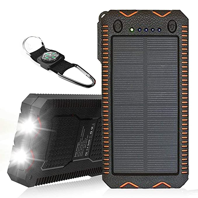 outlet store cba8e d98bc TRONOE Solar Charger,12000mAh Portable Charging Case External Backup  Battery Pack Dual USB Solar Phone Charger with 2LED Light Carabiner for  Your ...