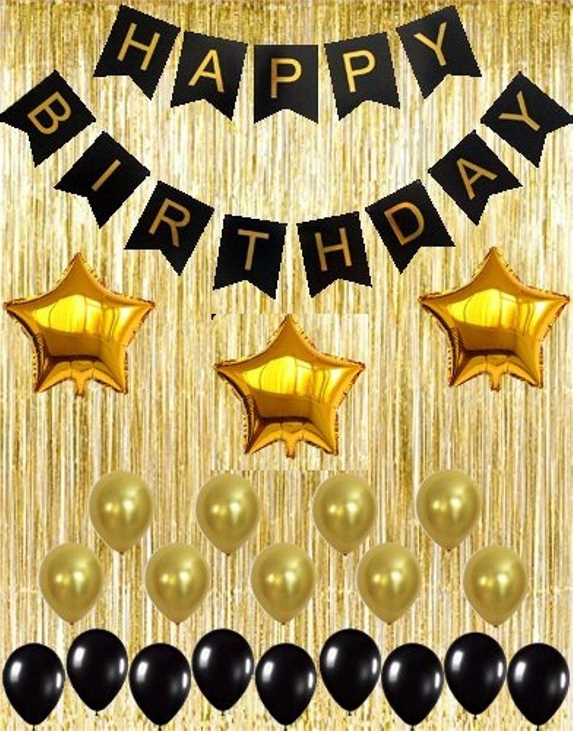 """Happy Birthday to You Black and Gold Star Foil Balloon 17/"""" Black Gold Decoration"""