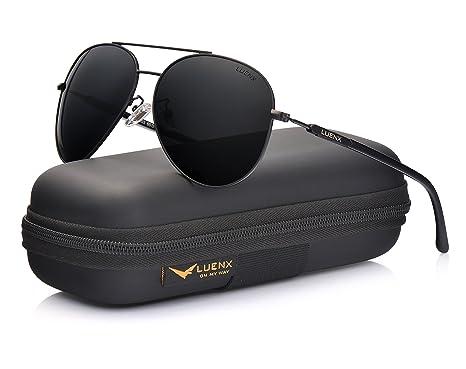 LUENX Herren Sonnenbrille Aviator Polarisiert mit Etui - UV 400 Schutz Braun Linse Gold Rahmen 60mm gES0oSDC