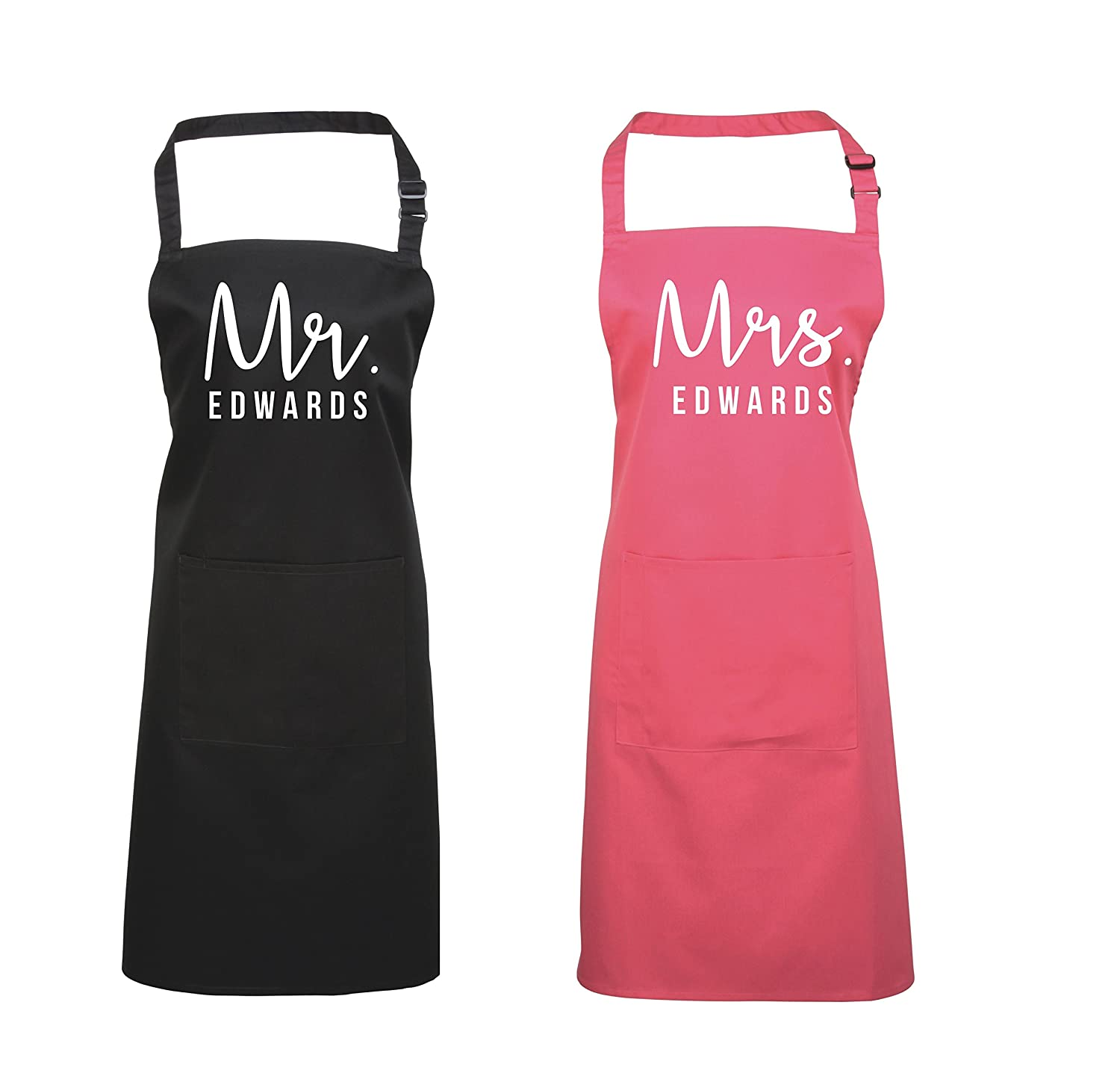 Edward Sinclair Personalised Mr. & Mrs. Apron Set Valentines Gift, Cooking Apron, Baking Apron, Kitchen Apron!