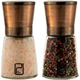 Premium Salt and Pepper Grinder Set - Best Copper Stainless Steel Mill for Home Chef, Handy Magnetic Lids, Smooth Ceramic Spice Grinders with Easy Adjustable Coarseness, Top Salt and Pepper Shakers