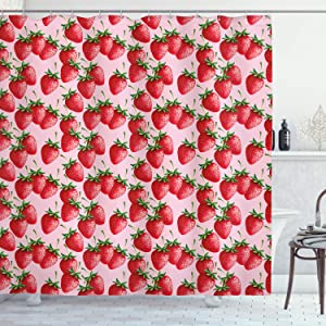 Ambesonne Red Shower Curtain, Delicious Big Strawberries on Pink Background Tasty Juicy Ripe Summer Fruits, Cloth Fabric Bathroom Decor Set with Hooks, 70