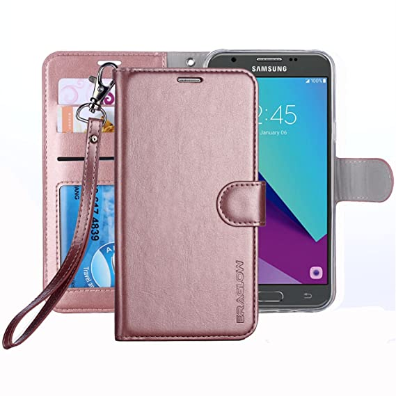 5b7f13b1bc ... J3 Eclipse/Sol 2 / Amp Prime 2 Case, ERAGLOW PU Leather Wallet Flip  Protective Cover with Card Slots & Kickstand for Samsung Galaxy J3 2017 (Rose  Gold)