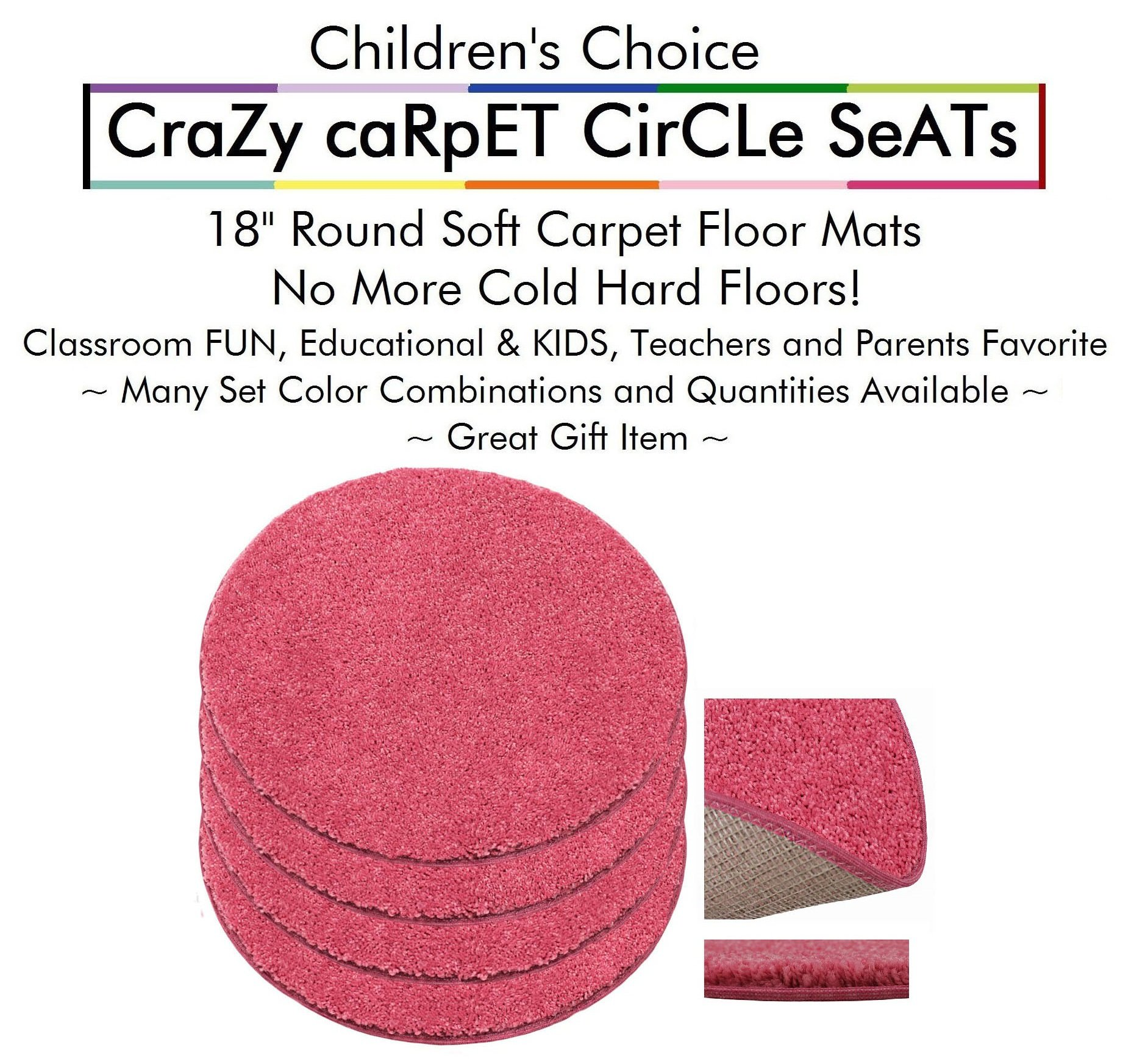 """Set 4 - TICKLE me Pink Kids CraZy CarPet CirCle SeaTs 18"""" Round Soft Warm Floor Mat - Cushions   Classroom, Story Time, Group Activity, Time-Out Spot Marker and Fun. Home Bedroom & Play Area"""