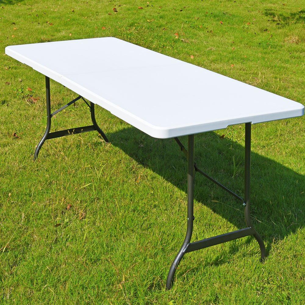 Deuba Heavy Duty Folding Table | Rectangular, Plastic Top, Folds In Half, Steel Frame & Locks | Model Choice 6ft / 8ft 4250525300536