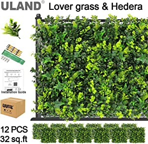 """ULAND Artifical Topiary Hedges Panels, Faux Plant Shrubs Greenery Backdrop Wall Decorations, Outdoor Privacy Screen Fence, Pack of 12pcs 20""""x20"""""""