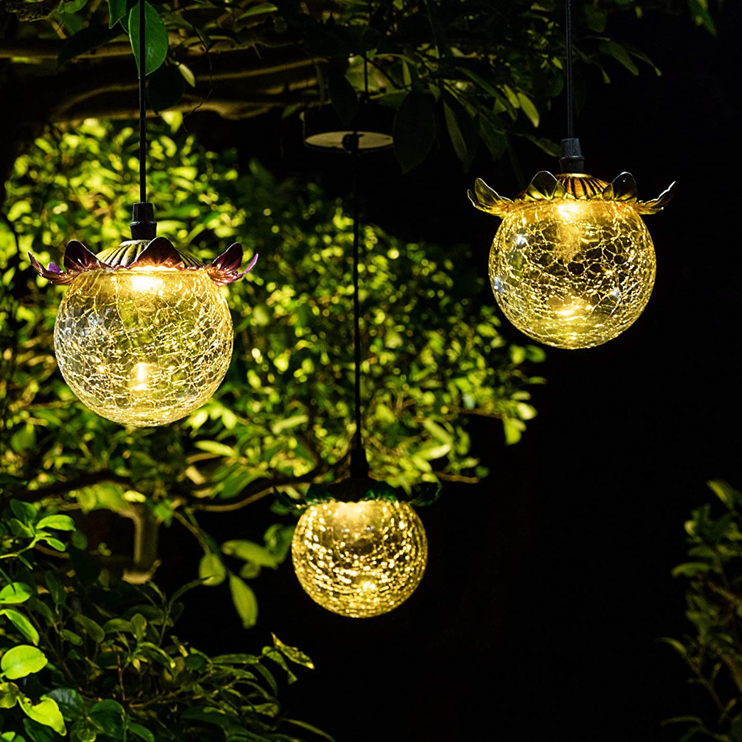 HUAXU Hanging Solar Lights LED Crackled Glass Ball Warm White Waterproof Outdoor Solar Powered Lanterns for Garden Yard Patio Lawn Porch Decoration(1 Globe)