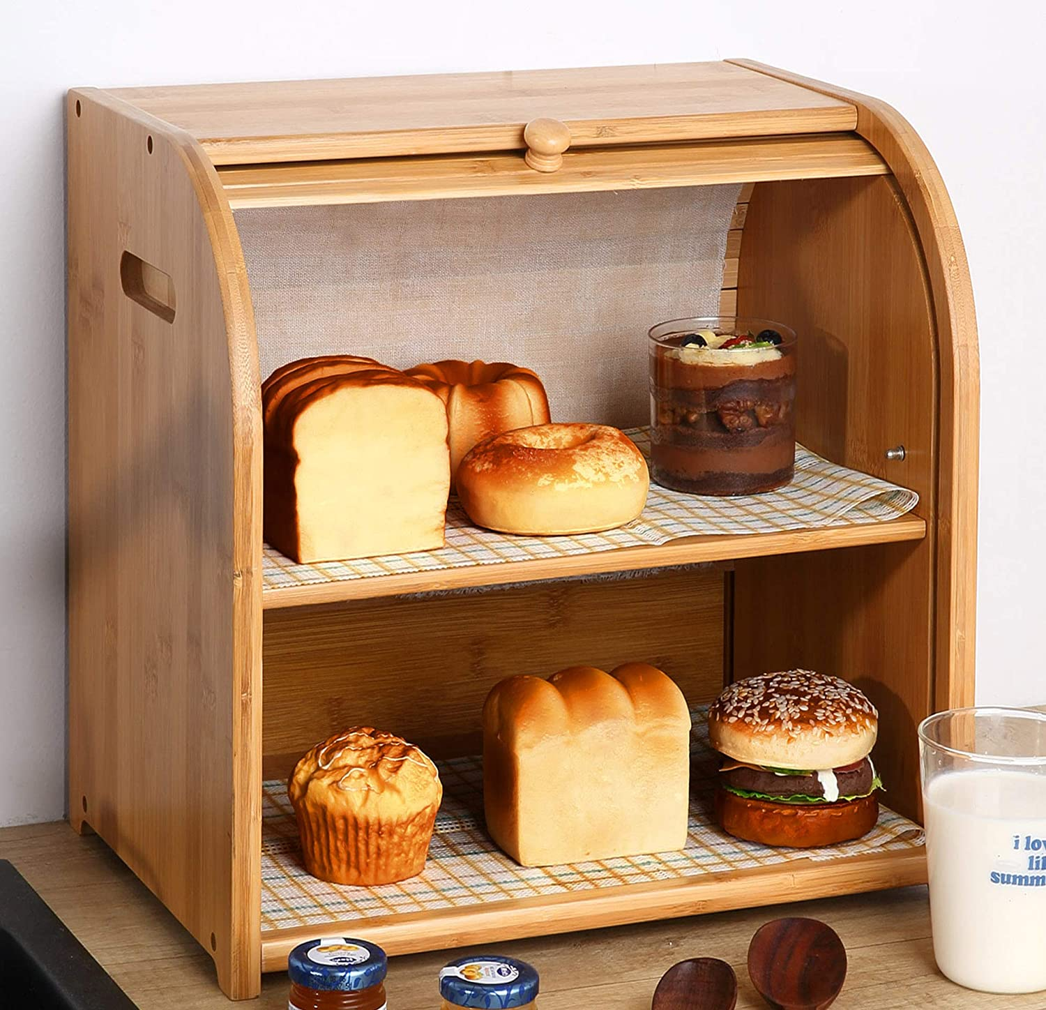 Bamboo 2 tier Bread Box- Kitchen Food Storage Bin display Countertop Shelf, Space Saving Bread Keeper with Adjustable Shelf, Wooden Large Capacity Holder Easy Assembled(Natural)