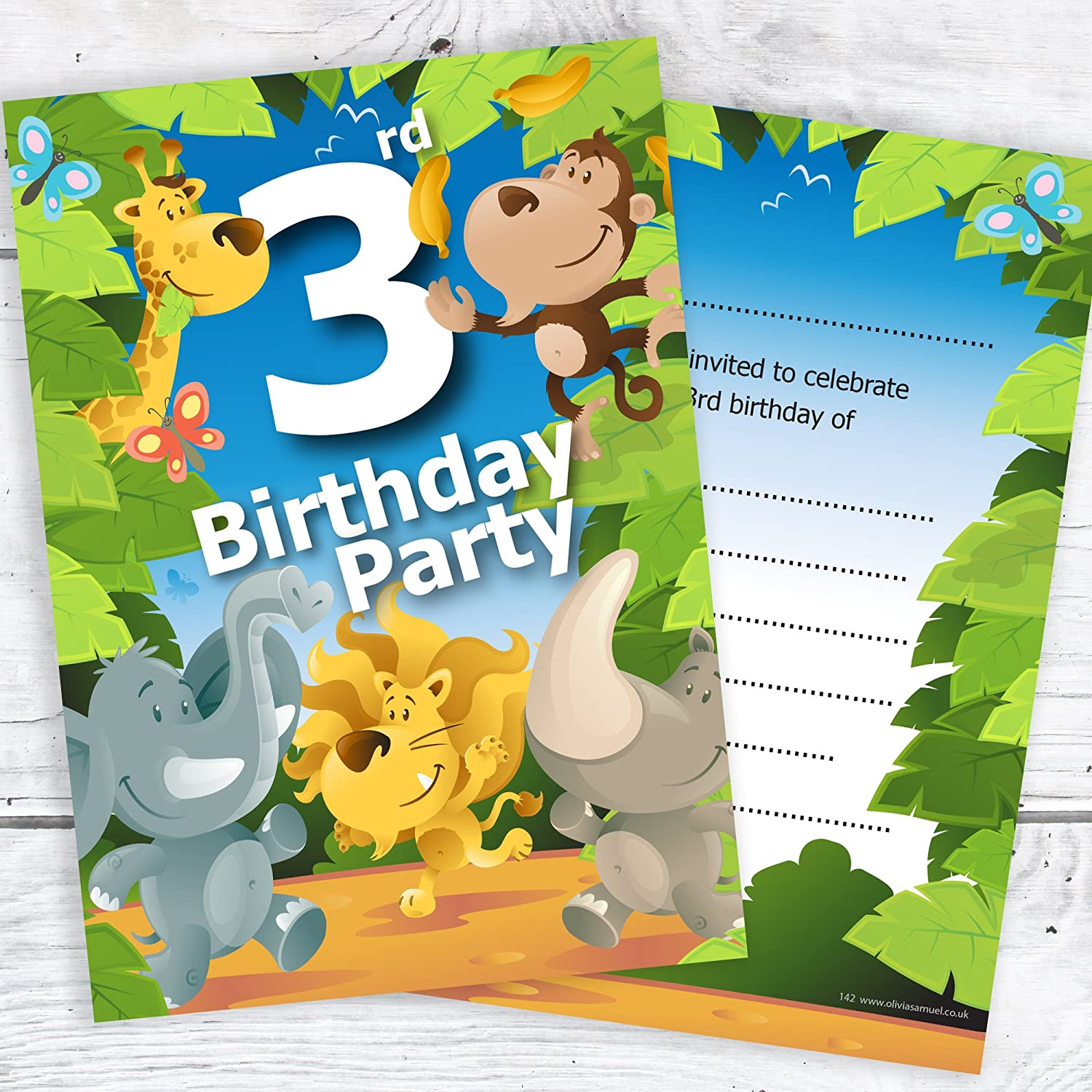 Pack 10 Olivia Samuel 1st Birthday Party Jungle Themed Animal Invitations Ready to Write with Envelopes