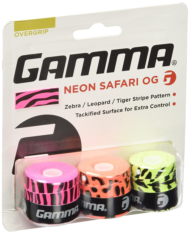 Gamma Neon Safari 3er Zebra, Leopard, Tiger Overgrip, Mehrfarbig , One Size GAMMR|#Gamma ANAPO10