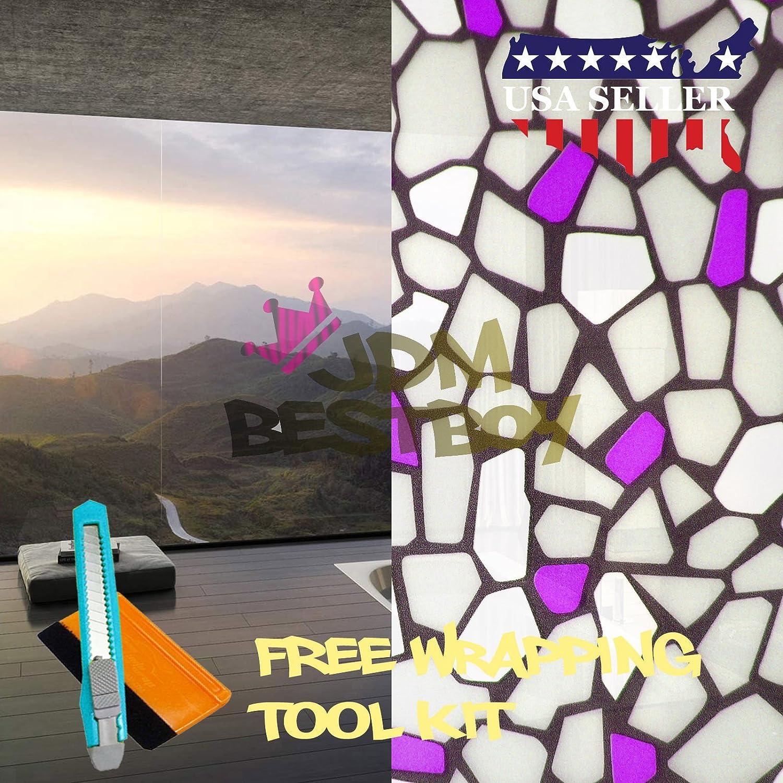 EZAUTOWRAP 無料ツールキット 紫レンガ 艶消しガラス 剥がして貼るウィンドウフィルム ホーム 寝室 浴室 プライバシー 防水ステッカー デカール 36インチ×300インチ (3フィート×25フィート) B06XCLXR8B