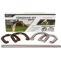 Champion Sports Juego de herraduras: Juego tradicional de jardín al aire libre incluye cuatro herraduras de acero sólido profesional con estacas de acero sólido y estuche de almacenamiento de transporte
