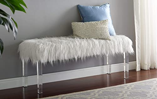 Roundhill Furniture Valley Faux Fur Bench with Acrylic Legs, White