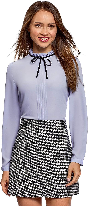 oodji Ultra Mujer Blusa con Cordones Decorativos y Volantes en el Cuello: Amazon.es: Ropa y accesorios