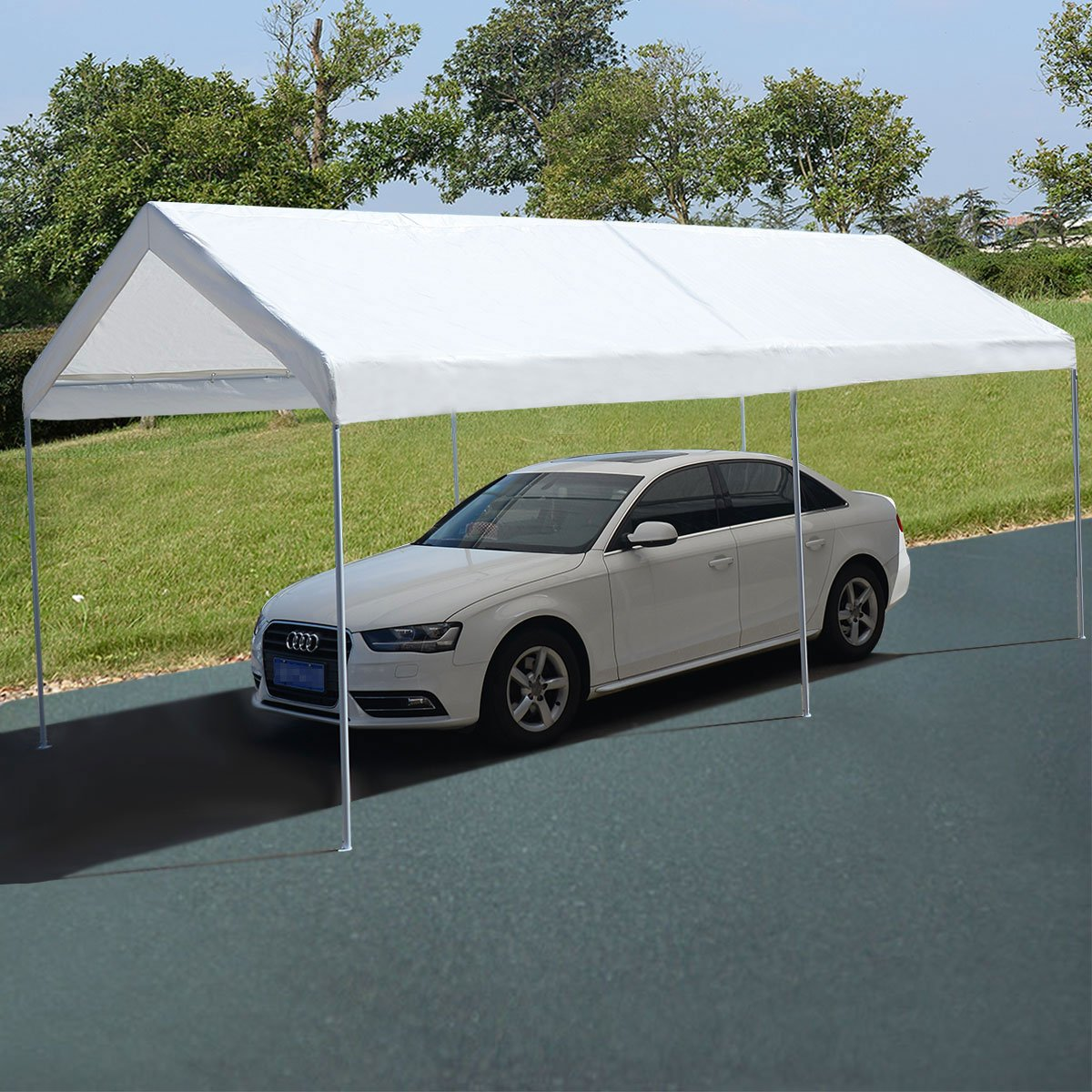 Costway Canopy/Carport/Marquee/Shelter/Tent White Gazebo Party Garden Outdoor Waterproof 3M x 6M