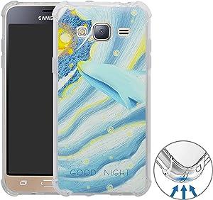 YuChen Galaxy J3 2016 Funda, 3D Dibujos Ultrafina Silicona Gel Suave TPU Bumper Diseño de Protección Caso Cover para Samsung Galaxy J3 2016(Not fit Galaxy J5),Whale