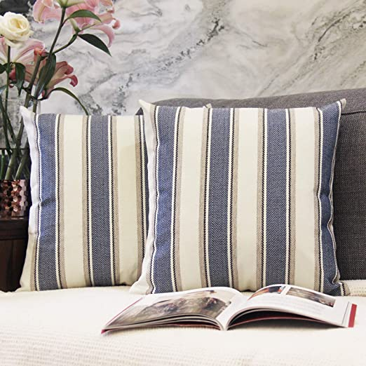 Amazon Com Jojusis Stripe Throw Pillow Covers Farmhouse Pillowcases Pack Of 2 20 X 20 Inch Blue Home Kitchen