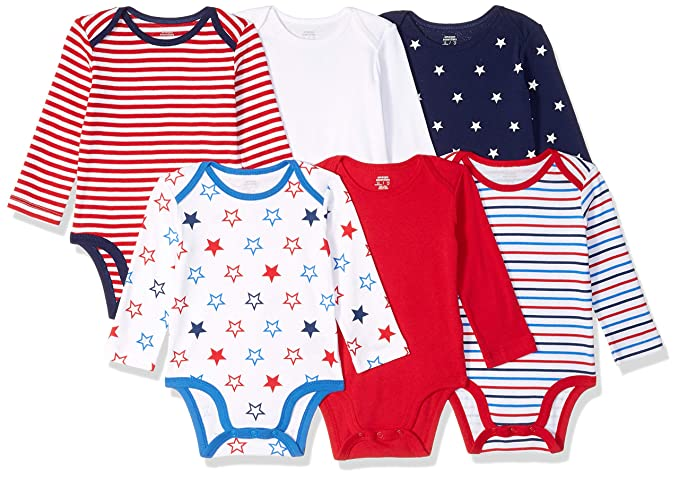 71aaf6d4b697 Amazon.com  Amazon Essentials Baby 6-Pack Long-Sleeve Bodysuit  Clothing