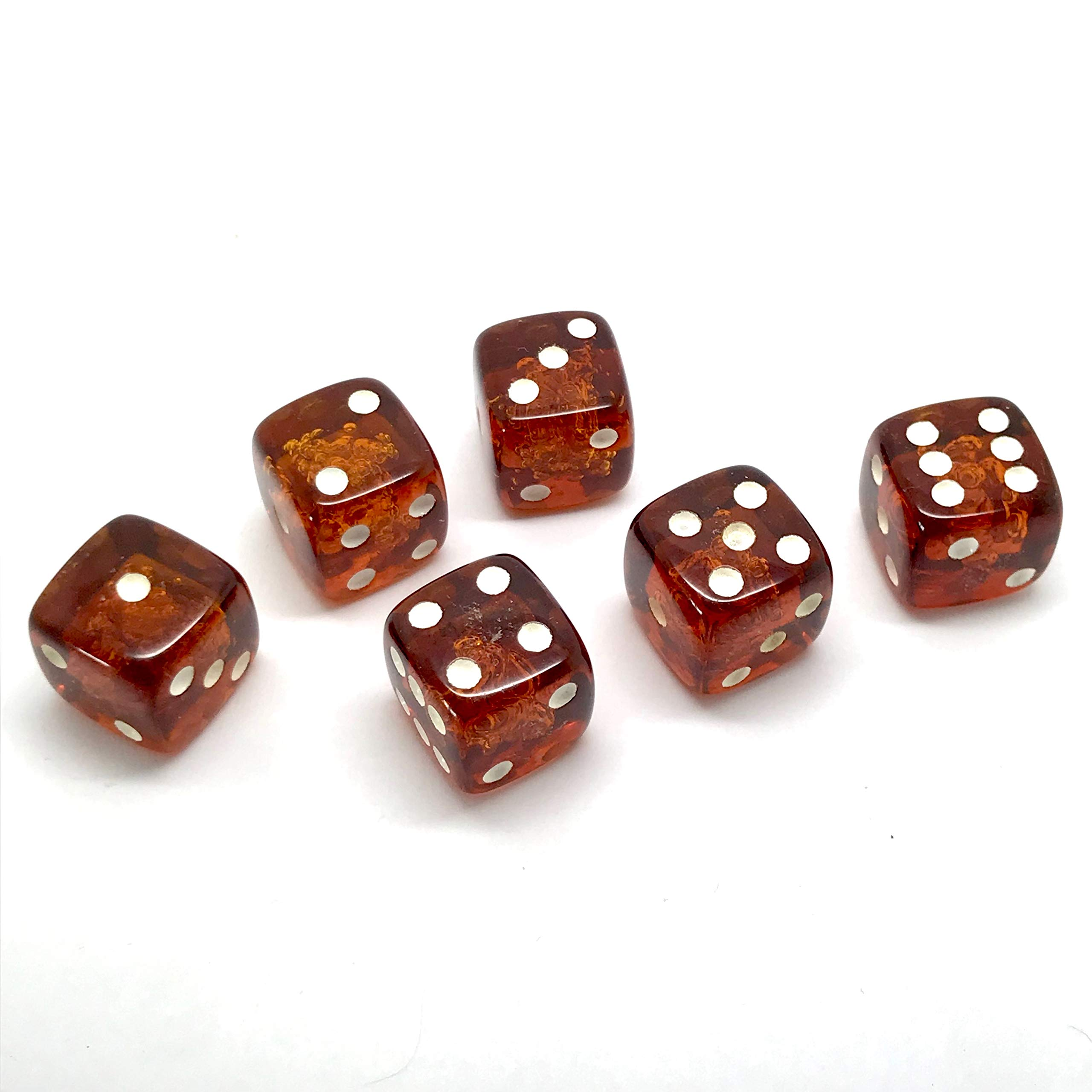 x6 Proper size Amber Dice set for Board games and Gambling by Generic (Image #7)