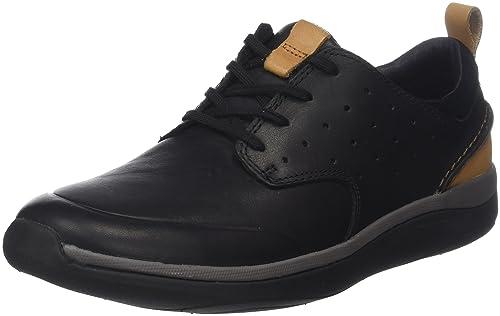 9d3216a96 Clarks Men s Garratt Lace Black Leather Sneakers - 11 UK India (46 ...