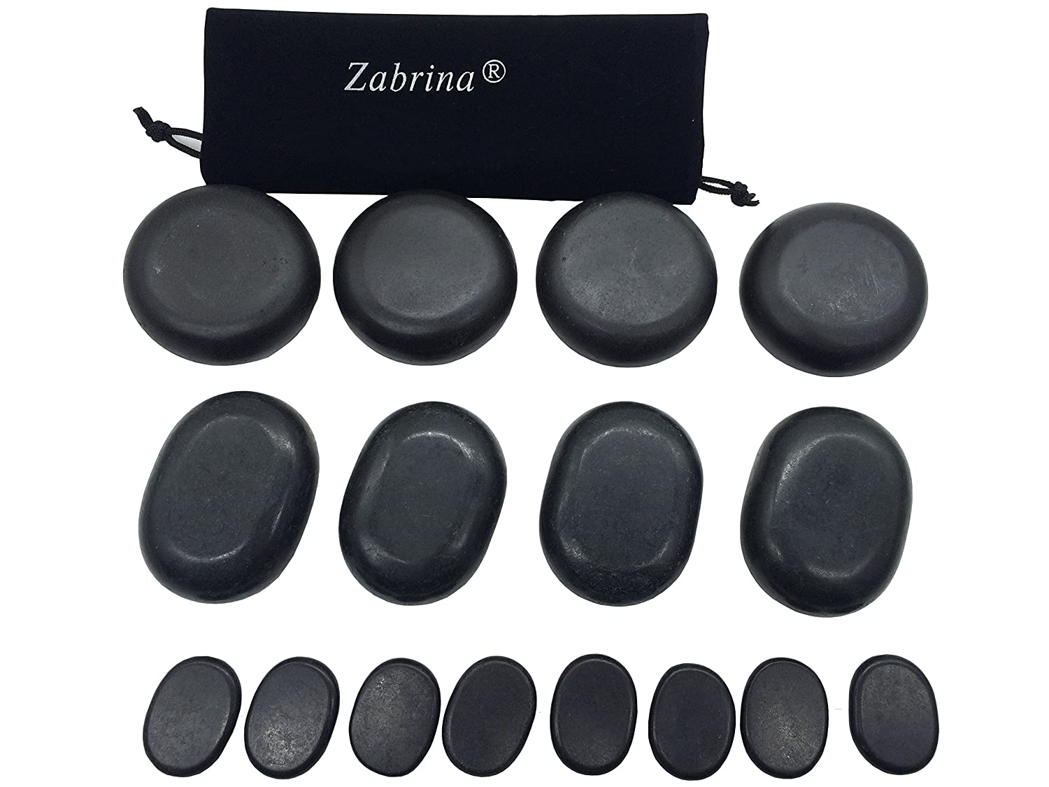 Zabrina 16 Pcs Professional Massage Hot Stone Set Basalt Hot Rocks Stones