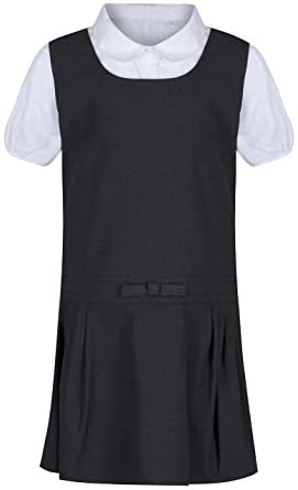 8ba006386325a ex BHS Ages 2-12 Girls School Pinafore With Blouse Outfit School Uniform  Charcoal Grey