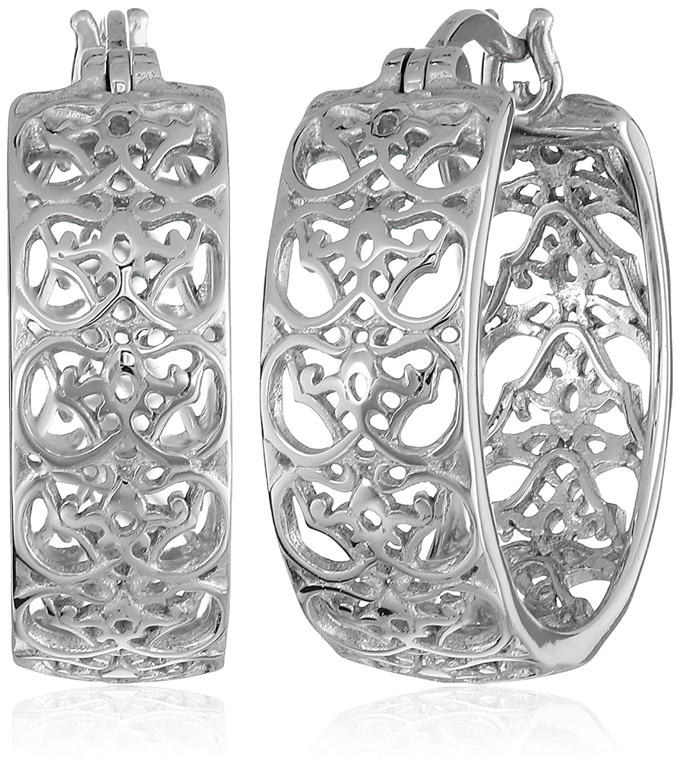 Rhodium-Plated Sterling Silver Filigree Hoop Earrings Amazon Collection R2AHF2A00K