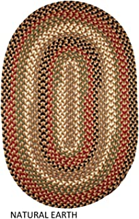 product image for Rhody Rug Jamestown Indoor/Outdoor Braided Rug Natural Earth 10' x 13' Oval Reversible 10' x 14' Indoor Oval