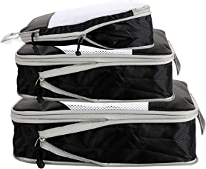 Smooth Double Zipper Compression Packing Cubes,Space Saver Nylon Luggage Organizers for Travel with Laundry Bag & Shoes Bag,5 Set
