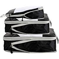 Compression Packing Cubes for Travel,5 Set Extensible Storage Mesh Bags Organizers,Travel Cubes for Packing (Black)