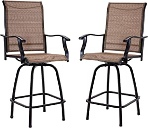 Outdoor Swivel Bar Stools All-Weather Counter Height Tall Patio Chair, 2 Pack for Garden Backyard