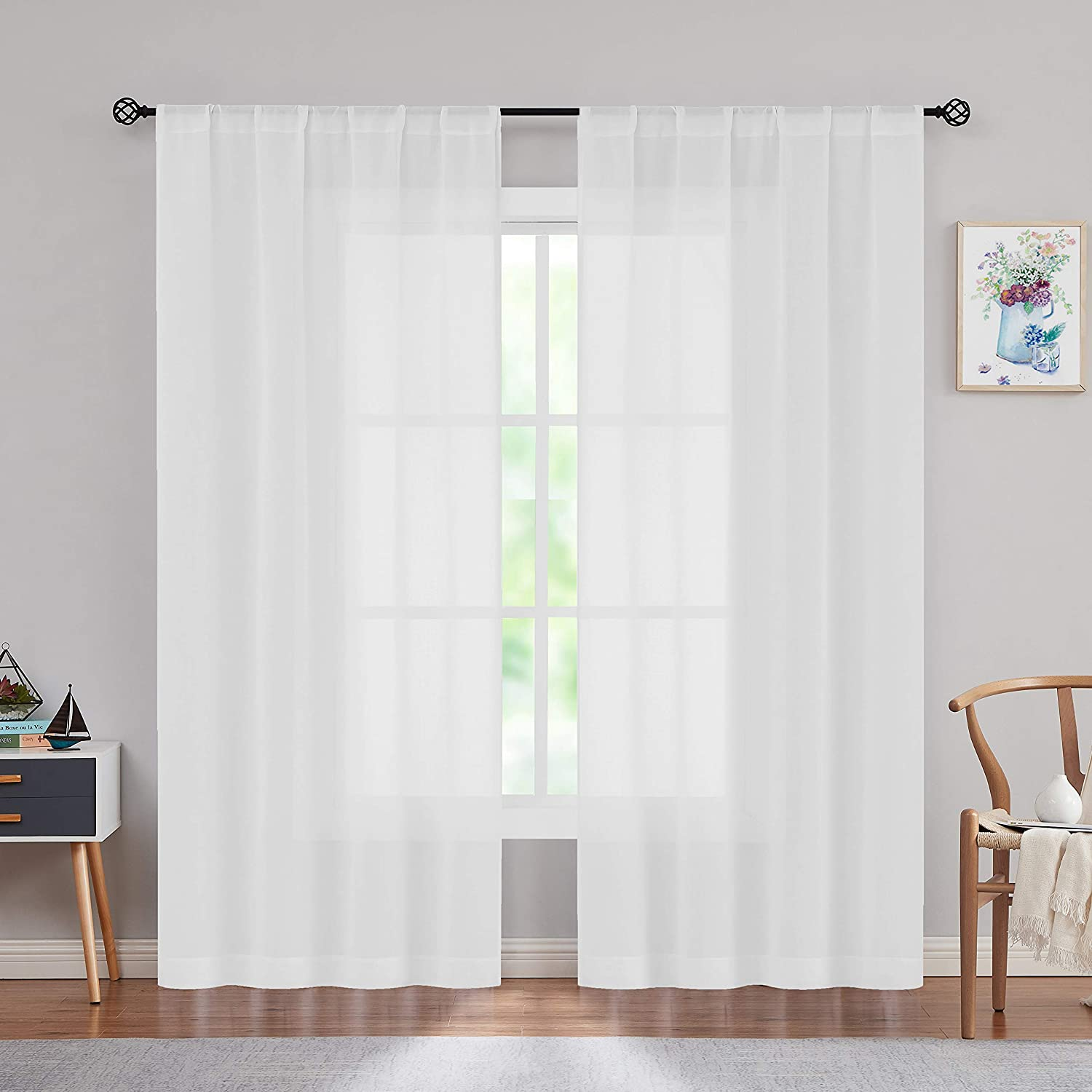 Fire Resistant White Sheer Window Curtains Flame Resistant Cotton Feel Batise Sheer Drapes Window Treatment Sets for Home Office, Hotel, School, Set of 2, 38x95 Inches