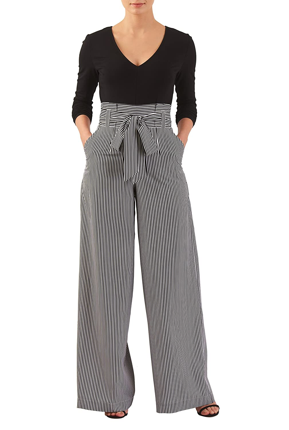 Vintage High Waisted Trousers, Sailor Pants, Jeans eShakti Womens Stripe Print Mixed Media Jumpsuit $64.95 AT vintagedancer.com