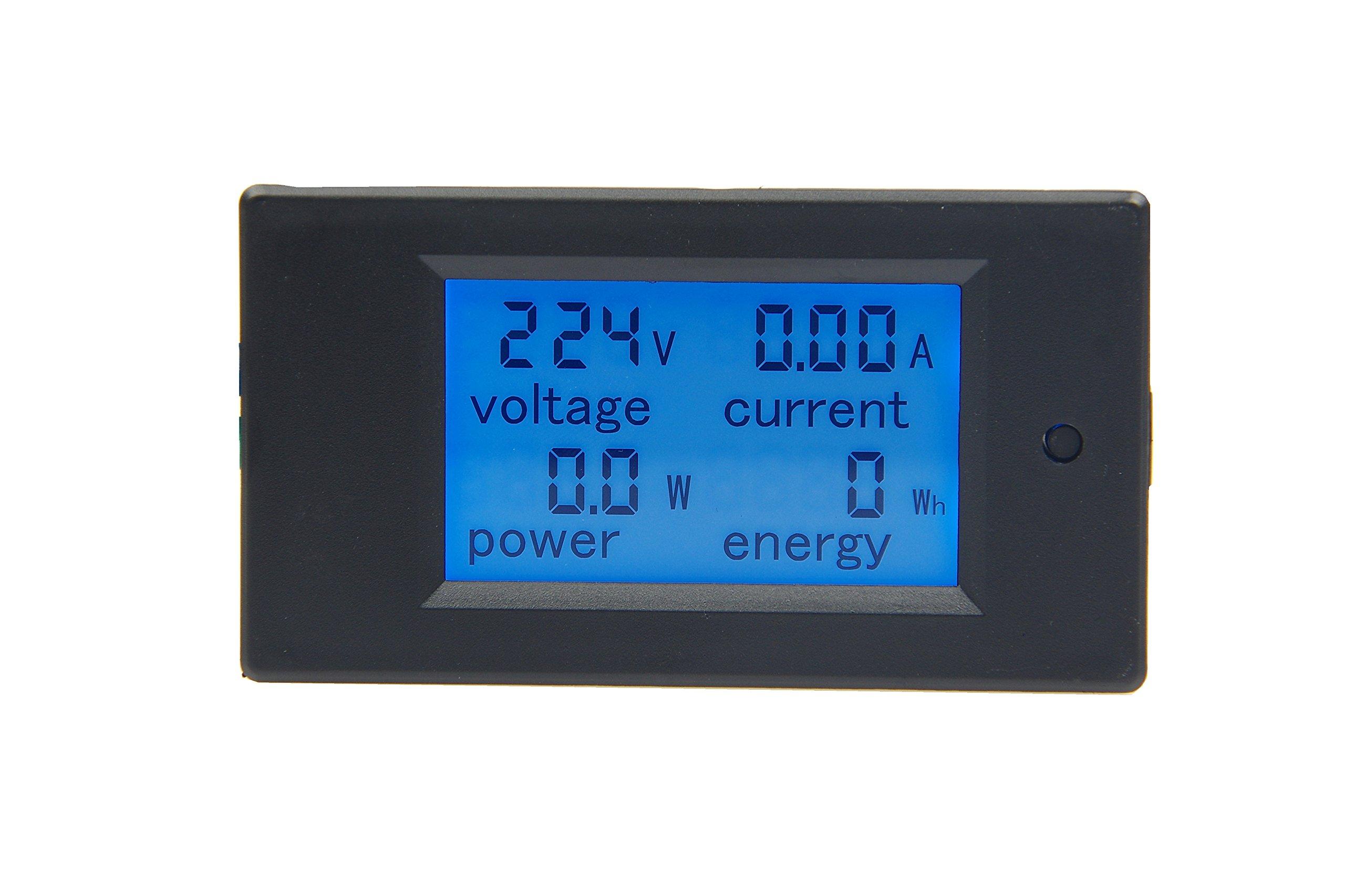 KNACRO AC 80-260V 100A Blue Backlit Digital Current Voltage Power Energy Meter Multimeter Ammeter Voltmeter with Open-close Current Transformer Split Core CT