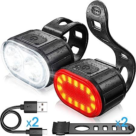 Matefielduk Luz Trasera de Bicicleta Poderoso,Luz de Bicicleta Trasera Carga USB 4 Modos de Iluminaci/ón,Carga R/ápida 1-1,5 Horas,F/ácil de Instalar,Perlas de L/ámpara COB Pantalla de PC